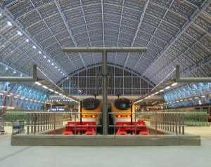 The Eurostar trains at St Pancras, London