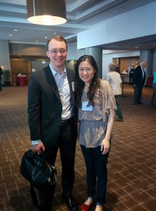 Dr Jarred Younger and a conference attendee