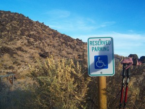 A disability parking permit, hiking sticks and a heart monitor....