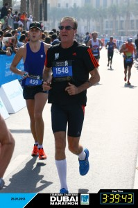Dr W. Tarello completing the Dubai Marathon