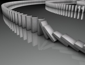 A long row of dominoes - the first 5 have fallen