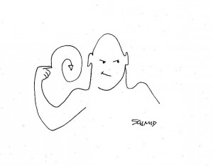 Cartoon of somebody making a hand signal to indicate that somebody is crazy.