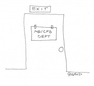 Cartoon of a door marked as ME/CFS Dept, with Exit above the door.
