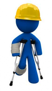blue worker on crutches