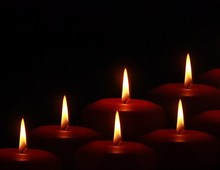candles in the dark at Christmas time